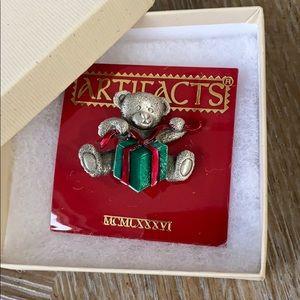Holiday bear lapel pin/brooch